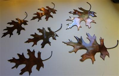 6 Metal Oak Leaves
