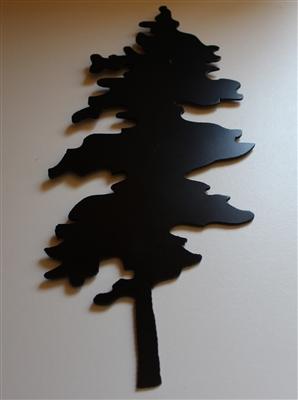 Pine Tree In Black Metal Wall Decor