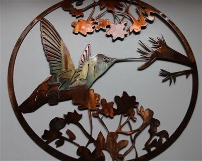 Hummingbird Circle Metal Wall Art Decor Copper Bronze Plated