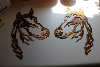 Horse Head Pair Metal Wall Art